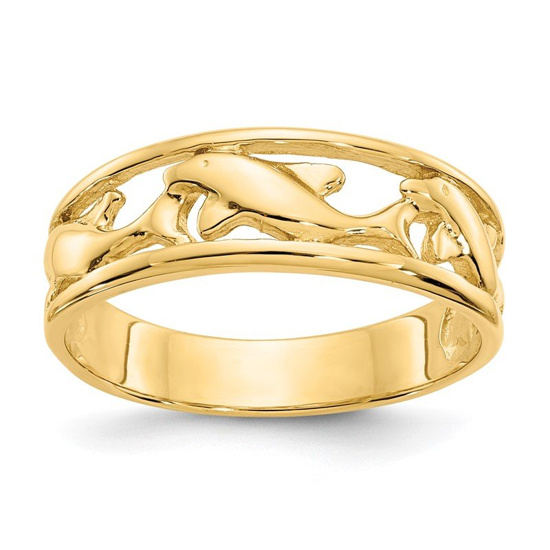 Quality Gold 14K Triple Dolphin Band Ring