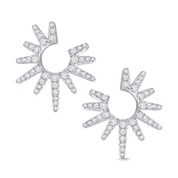 14k Gold and Diamond Starburst Earrings, Small
