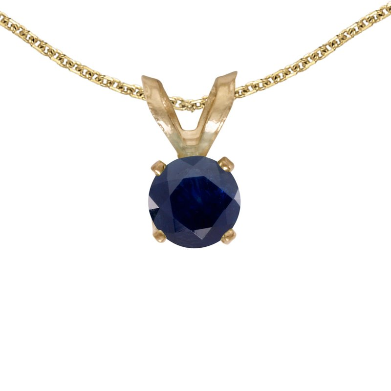 Color Merchants 14k Yellow Gold Round Sapphire Pendant