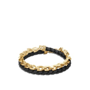 Asli Classic Chain Link Double Wrap Bracelet, 18K Gold, Leather