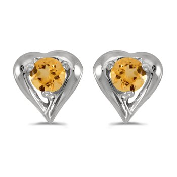 14k White Gold Round Citrine Heart Earrings