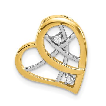 Sterling Silver Rhodium & Gold-tone w/CZ Heart Chain Slide