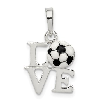 Sterling Silver Polished Enamel Love Soccer Pendant