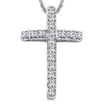 Diamond Cross Pendant in 14K White Gold (0.42 ct. tw.)