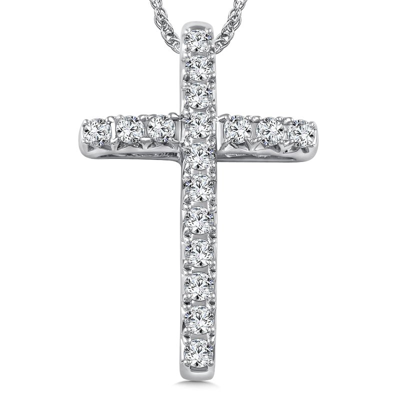 Caro74 Diamond Cross Pendant in 14K White Gold (0.42 ct. tw.)