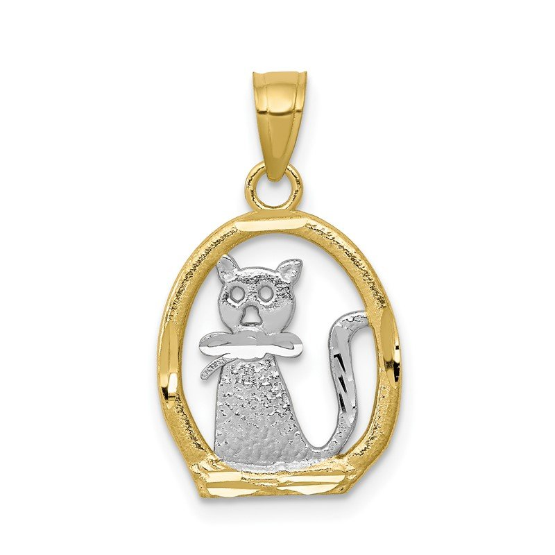 Quality Gold 10k & Rhodium Cat Pendant
