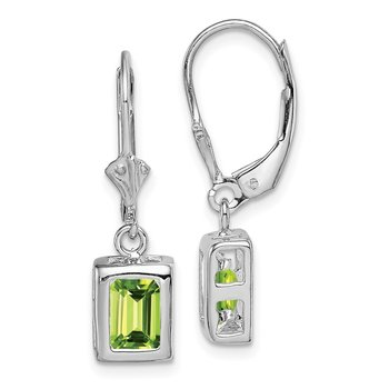 Sterling Silver Rhodium 7x5 Emerald Cut Peridot Leverback Earrings