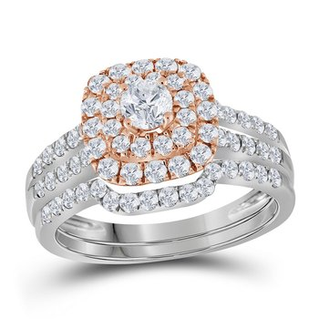 14kt White Gold Womens Round Diamond Double Halo Rose-tone Bridal Wedding Engagement Ring Band Set 1-1/5 Cttw