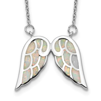 Sterling Silver Rhod-plated Created Opal Wings w/1.5in ext Necklace
