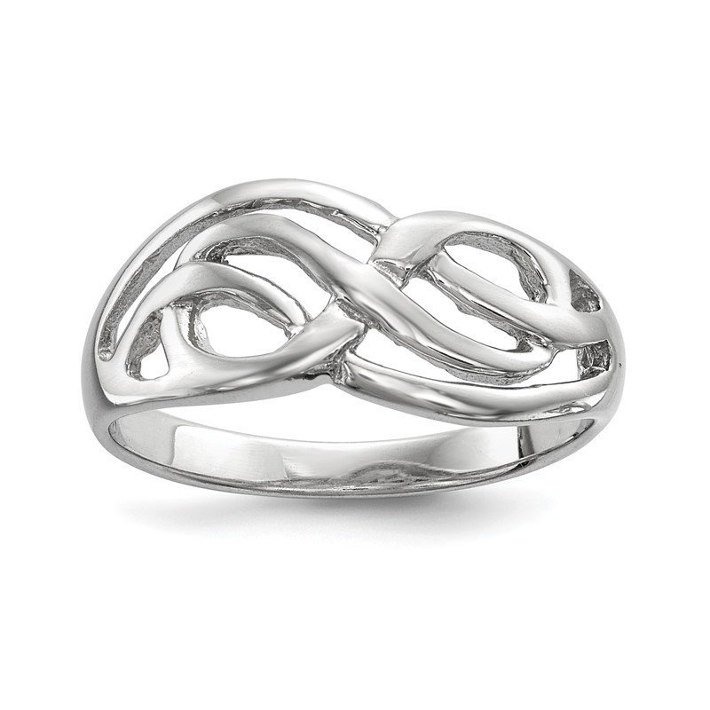 Quality Gold Sterling Silver Rhodium-plated Polished Infinity Ring