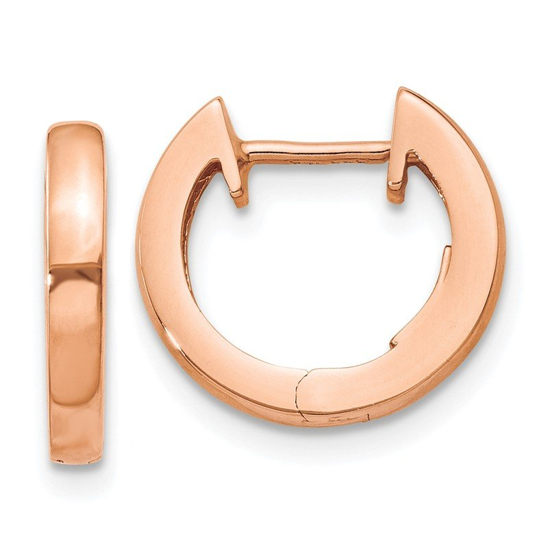 Quality Gold 14K Rose Gold Hinged Hoop Earrings