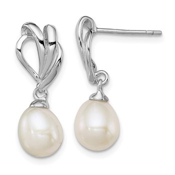 Sterling Silver Rhodium-plated 7-8mm White FWC Pearl Post Dangle Earrings
