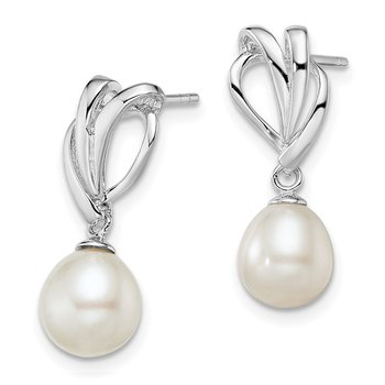 Sterling Silver Rh-plated 7-8mm White FWC Pearl Post Dangle Earrings