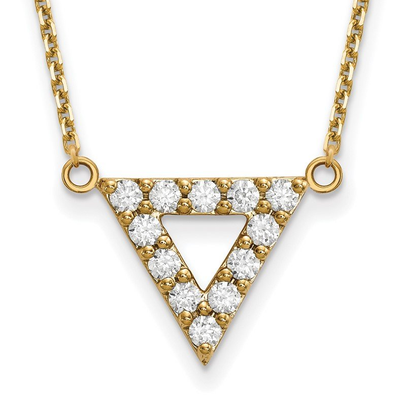 Quality Gold 14k AA Quality Diamond 3mm Triangle Necklace