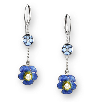 Sterling Silver Pansy Wire Earrings-Blue. Diamonds and Pearl.