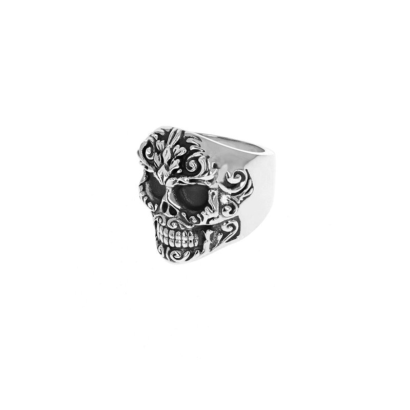 King Baby Floral Scroll Relief Skull Ring