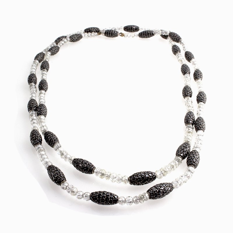 William Levine DIAMOND BEADS AND BLACK DIAMOND NECKLACE