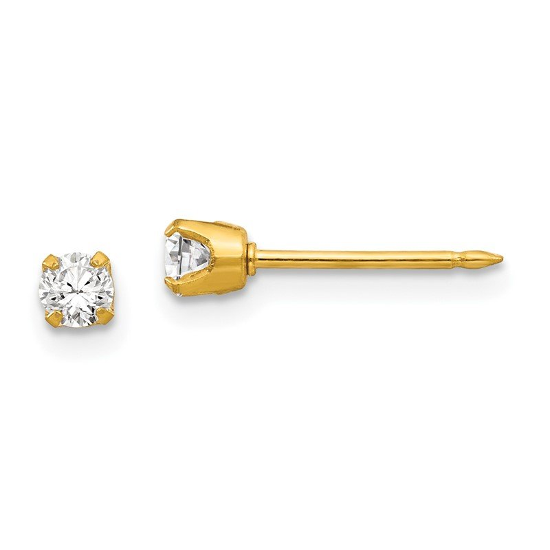 Quality Gold Inverness 14k 3mm CZ Earrings