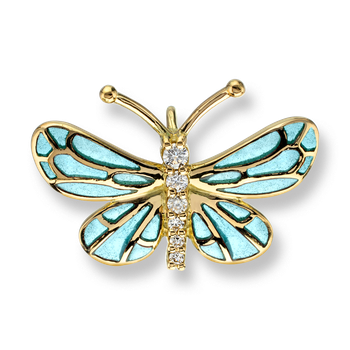 18 Karat Gold Small Butterfly Necklace -Blue. Diamonds.