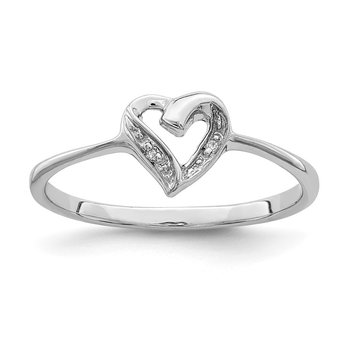 Sterling Silver Rhodium Polished Diamond Accent Heart Ring