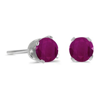 14k White Gold 4 mm Round Ruby Stud Earrings