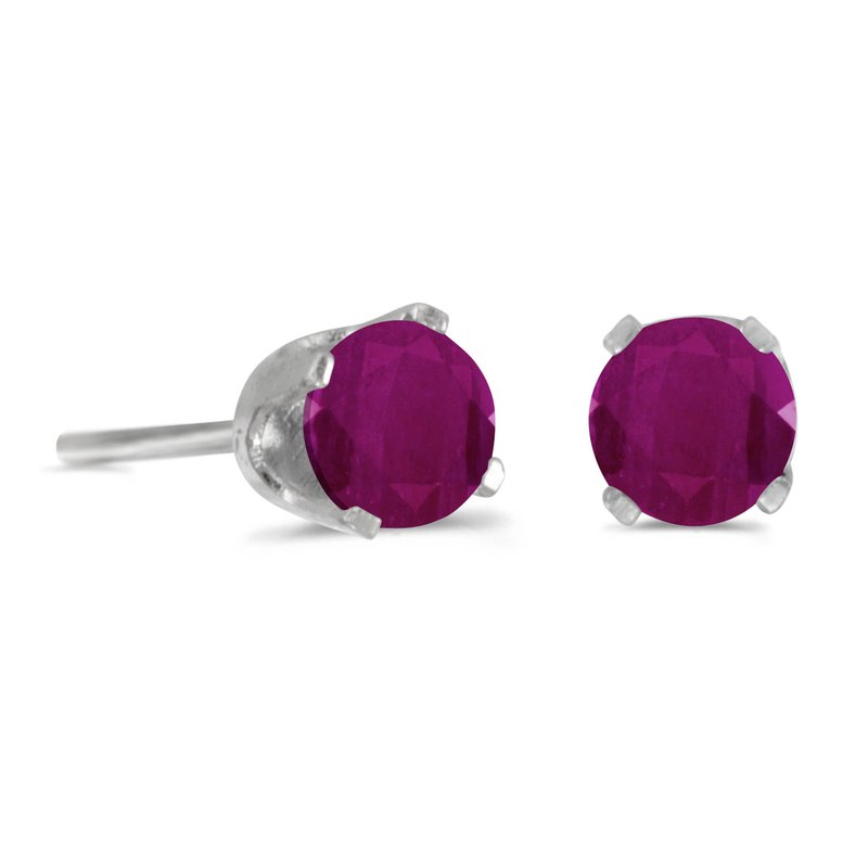 Color Merchants 14k White Gold 4 mm Round Ruby Stud Earrings