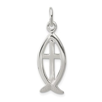 Sterling Silver Ichthus Fish Cross Charm