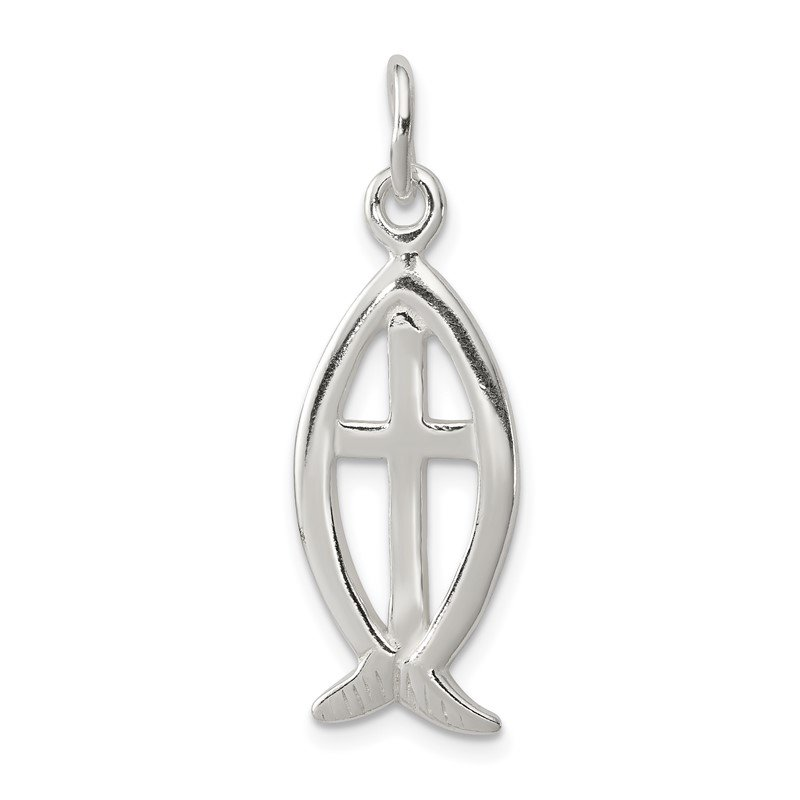 Quality Gold Sterling Silver Ichthus Fish Cross Charm