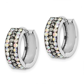 Sterling Silver Rhodium-plated Grey/Rainbow Preciosa Hinged Hoop Earrings