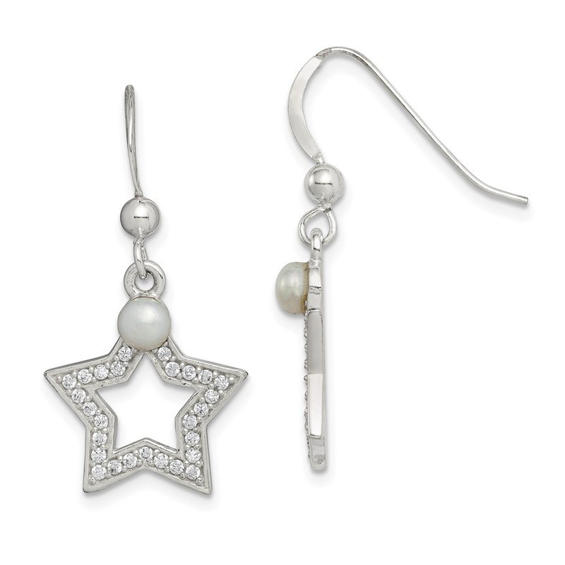 Quality Gold Sterling Silver FWC Pearl & CZ Star Dangle Earrings