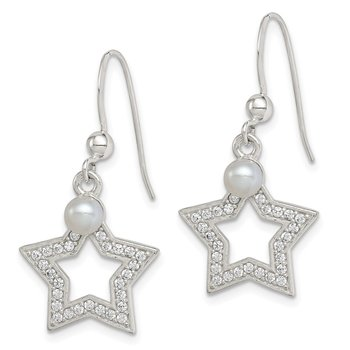 Sterling Silver FWC Pearl & CZ Star Dangle Earrings