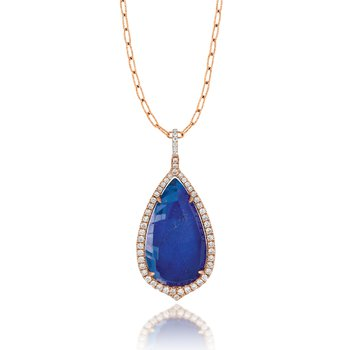 Royal Lapis Teardrop Pendant 18KR