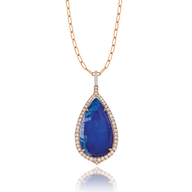 Doves Royal Lapis Teardrop Pendant 18KR