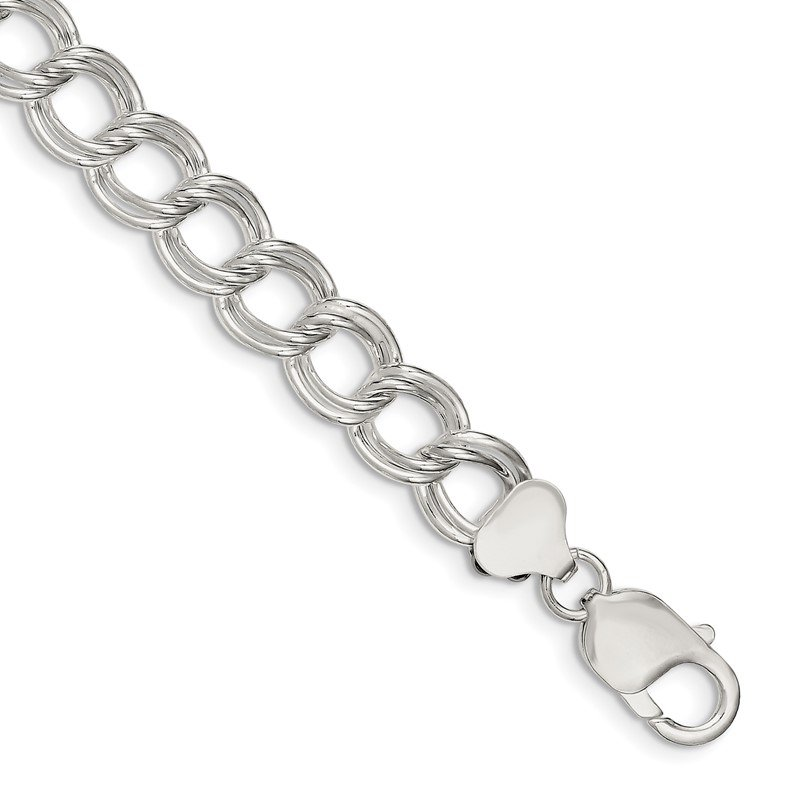 Quality Gold Sterling Silver 10.5mm Double Link Charm Bracelet