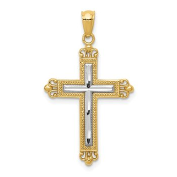 14K w/Rhodium Diamond Cut Cross Pendant