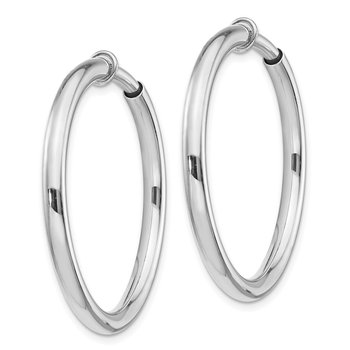 Sterling Silver RH-plated 3x30mm Non-Pierced Hoop Earrings