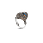 Roberto Coin 18KT GOLD SEAL RING WITH DIAMONDS AND SAPPHIRES