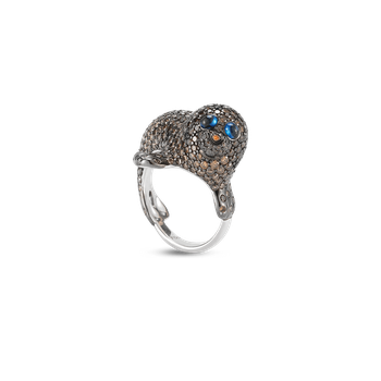 Seal Ring With Diamonds And Sapphires &Ndash; 6.5