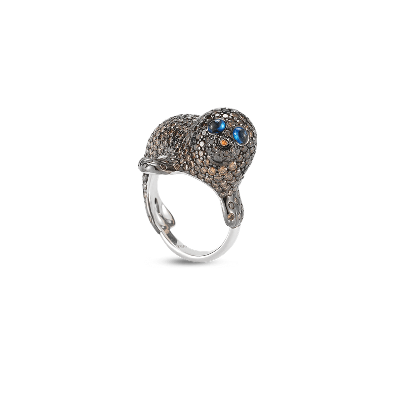 Roberto Coin Seal Ring With Diamonds And Sapphires &Ndash; 6.5