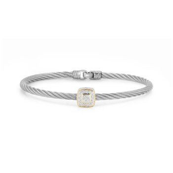 Grey Cable Essential Stackable Bracelet with Single Large Square Diamond station set in 18kt Yellow Gold