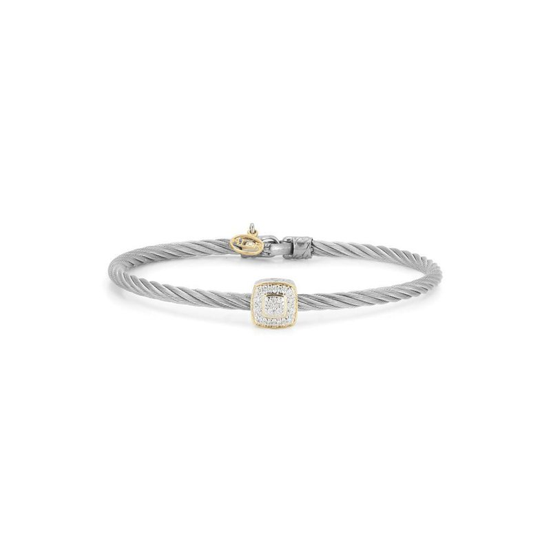 ALOR Grey Cable Essential Stackable Bracelet with Single Large Square Diamond station set in 18kt Yellow Gold