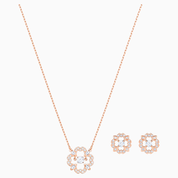 Sparkling Dance Flower Set, White, Rose-gold tone plated