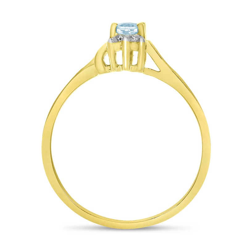 Color Merchants 14k Yellow Gold Oval Aquamarine And Diamond Satin Finish Ring