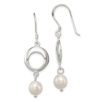 Sterling Silver Glass Imitation Pearl Polished Fancy Dangle Earrings