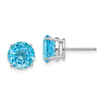 14k White Gold 8mm Blue Topaz Earrings