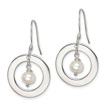 Sterling Silver White FW Cultured Pearl Dangle Earrings