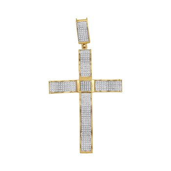 10kt Yellow Gold Mens Round Diamond Pave-set Roman Cross Charm Pendant 1-1/4 Cttw