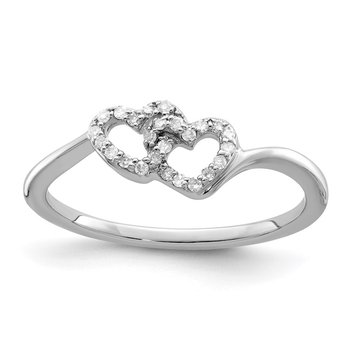 Sterling Silver Rhodium Plated Diamond Double Heart Promise Ring