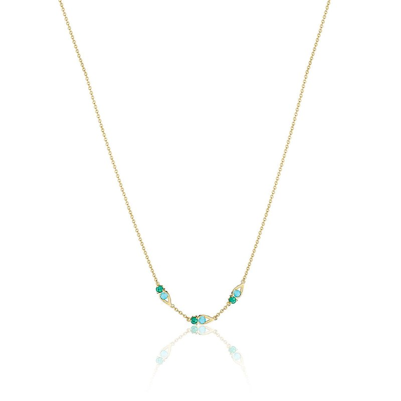 Tacori Fashion Petite Open Crescent Gemstone Necklace with Turquoise and Green Onyx