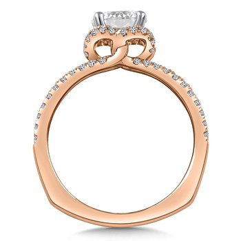 Diamond & Blue Sapphire Engagement Ring Mounting in 14K Rose Gold (.35 ct. tw.)
